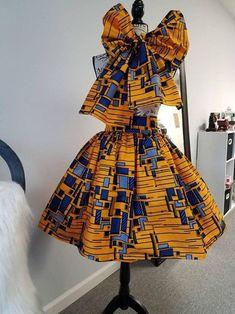High Waisted African Print Ankara Midi Skirt with BowTie/ Head Wrap Africanstylesforladies - African Styles for Ladies Latest Ankara Short Gown, Ankara Short Gown Styles, Trendy Ankara Styles, Short Gowns, African Fashion Skirts, African Inspired Fashion, African Print Fashion, Ankara Fashion, Africa Fashion