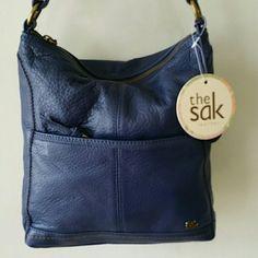 THE SAK SHOLDER BAG Navy Blue, Body 100%Leather, Trim 100%Polyethylene,  Lining100%Polyester, AJUSTIBLE  STRAP,  ON BACK A MARK OF  DISCOLORATION SAK Bags Shoulder Bags