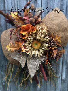 Unique swag wreaths Fall wreath Autumn swag by CarolaFlowerDesigns