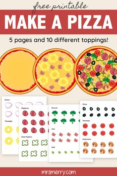 Let your kid be the cook with this make a pizza paper toy craft. Comes with 5 pages and 10 different toppings. Laminate the items to make them last! Free Activities For Kids, Toddler Learning Activities, Preschool Activities, Preschool Learning, Teaching, Pizza Craft, Make Your Own Pizza, Diy Crafts For Kids Easy, Dramatic Play Centers