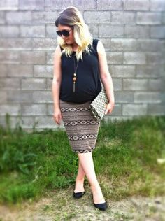 Sans Heels | Liv.vie In Love Black basic tank, tribal print skirt, woven printed clutch, gemstone necklace, oversized sunglasses, and black flats (boo!) Maternity style, maternity fashion, pregnancy style, pregnancy fashion, baby bump style, baby bump, 34 weeks, ootd, wiwt, blogger, fashion stylist Pregnancy Style, Pregnancy Fashion, Maternity Style, Maternity Fashion, Tribal Print Skirt, Baby Bump Style, Oversized Sunglasses, Black Flats, Fashion Stylist