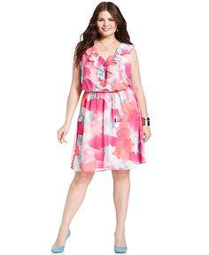 Love Squared Plus Size Dress, Sleeveless Printed Ruffle - Plus Size Dresses - Plus Sizes - Macys