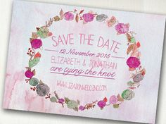 Printable Save the Date  Beautiful Pink Floral by SixDaysCreations, $20.00