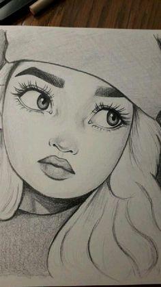 Dark Art Drawings, Girly Drawings, Art Drawings For Kids, Anime Drawings Sketches, Art Drawings Sketches Simple, Cartoon Drawings, Easy Portrait Drawing, Beautiful Pencil Drawings, Small Canvas Art