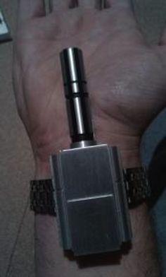 The James Bond inspired Wrist Dart Gun. This tool was used in the actual game and film. Having this accessory adds an element of stealth to the activity, and allows for the user to shoot darts randomly. Spy Weapons, Doomsday Prepping, Military Guns, Cool Guns, Guns And Ammo, Pest Control, James Bond, Firearms, Just In Case