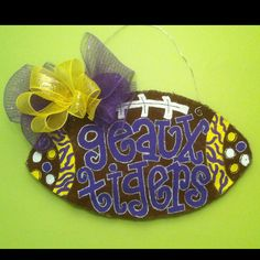 Hand painted burlap LSU football