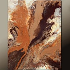 Brown Abstract Art Canvas Painting 18x24 Contemporary by wostudios, $69.00