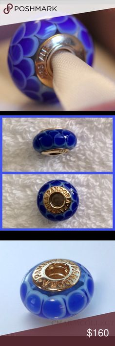 """NWOT Authentic Pandora Blue Lotus 14k Gold Charm This beautiful """"Blue Lotus"""" Pandora charm is a retired glass bead with 14k gold in center.  NWOT, never worn! Pandora Jewelry Bracelets"""