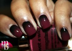 Berry Vampiric gradient NOTD using Wet N Wild & LA Girl nail polishes.