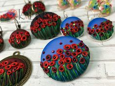 Earrings-poppies from polymer clay own hands
