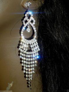 """Chandelier Earring Earrings Austrian Crystal Rhinestone Bridal Pageant Prom 4.5"""" #Unbranded #Chandelier"""