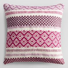 Orchid Diamond Dobby Woven Indoor Outdoor Throw Pillow - v1