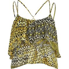 Yellow leopard print double layer crop top #riverisland
