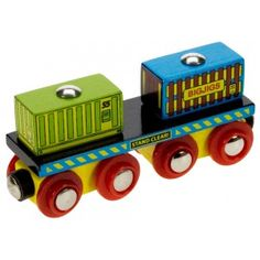Container Wagon. Toy wooden train by Bigjigs.  Wooden toys. Imaginative Play. Preschooler. Preschool. Toddler. Fun. Learning. Educational.