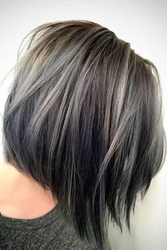 Trendy Hair Gray Balayage Brunettes Hair Color Ideas hair color ideas for brunettes with gray Brunette Hair With Highlights, Brown Blonde Hair, Balayage Brunette, Light Brown Hair, Hair Color Balayage, Dark Brown, Silver Highlights, Color Highlights, White Blonde