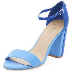 Wide Fit Blue Colour Block Ankle Strap Heels (14 AUD) found on Polyvore featuring women's fashion, shoes, pumps, blue, heels, high heel court shoes, heel pump, blue high heel pumps, block heel court shoes and high heel pumps