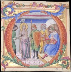 """Sano di Pietro - Martirio di Sant'Agata in una Iniziale """"D"""" - ca. 1470-1473 - tempera e oro su pergamena - The Metropolitan Museum of Art, New York"""