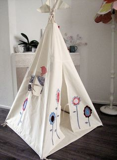 Wigwam teepee tent - lollipop flowers & Hanging Play Tent Whimsical Canopy in White Cotton Lawn and Echino ...