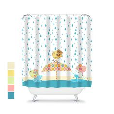 Kids Shower Curtain Yellow Bathroom Decor Baby Fun Jungle Elephant Pinterest