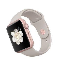Apple Watch Sport – Caixa de 42 mm rosa ouro de alumínio com pulseira desportiva cinza