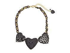 Betsey Johnson Black Hearts Three Large Hearts Frontal Necklace