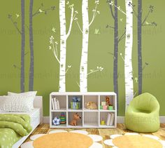 Birch Tree Decal with Flying Birds in 2 colors Birch Trees