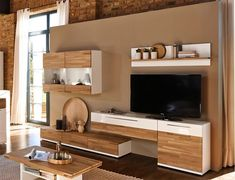 Arte-M Feel Modern Solid Oak and High Gloss White or Grey TV & Wall Storage System