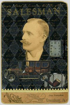 """EKDuncan - My Fanciful Muse: """"The Salesman"""" is part of my Antique Cabinet Card - Altered Art collection that I did for a swap several years ago.  I'm not sure what he might have been peddling out of his travel case but it gives me the giggles that he might have been a corset salesman. - Evelyn"""
