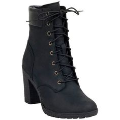 Timberland Women's Glancy Hiker High Heel Boot ($130) ❤ liked on Polyvore featuring shoes, boots, black, black boots, timberland boots, laced up boots, work boots and black work boots
