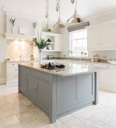 Dream kitchen with a mint green island please! Tom Howley's classic Hartford design (Beautiful Kitchens - January 2015 UK) Open Plan Kitchen, New Kitchen, Kitchen Ideas, Kitchen White, Awesome Kitchen, Country Kitchen, Kitchen With Tile Floor, Vintage Kitchen, Design Kitchen