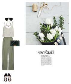 """""""Classy green"""" by yenybarriot ❤ liked on Polyvore featuring Topshop, Rosie Assoulin, Miu Miu and Chanel"""