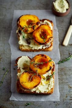 Toasted Brioche With Thyme-Roasted Peaches And Vanilla Mascarpone