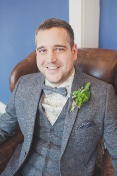 bow tie groom Chic Quirky Elegant Grey Green Wedding http://www.cottoncandyweddings.co.uk/