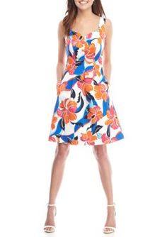 Nine West CandyTango Multi Floral Printed Sweetheart Neck Fit-and-Flare Dress