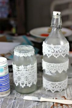 Etched and lace mason jars and bottles Recycled Glass Bottles, Glass Bottle Crafts, Lace Mason Jars, Table Flowers, Bottles And Jars, Jar Crafts, Recycling, Crafty, Tattoo