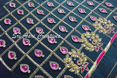 """For orders Contact """"Sri Aari Creatives"""" - 9842995293 Simple Blouse Designs, Bridal Blouse Designs, Saree Blouse Designs, Aari Embroidery, Bead Embroidery Patterns, Embroidery Designs, Cotton Frocks For Kids, Hand Designs, Check Designs"""