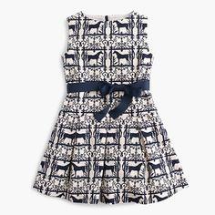 A vintage iron gate we spotted on a trip to Maine was the inspiration for this equestrian motif you'll see everywhere this season—like on this swingy party dress that earns major points on the bouncy house circuit. <ul><li>A-line silhouette.</li><li>Falls above knee.</li><li>Cotton.</li><li>Back zip.</li><li>Side-seam pockets.</li><li>Lined.</li><li>Machine wash.</li><li>Import.</li></ul>