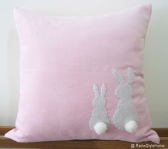 Two Little Lovely Rabbits Light Pink Pillow Cover. Spring Summer Bunny Easter Cushion. Pom Pom Appliques