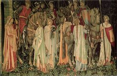 """The Arming and Departure of the Knights,"" Number 2 of the Holy Grail tapestries, 1890s, Sir Edward Burne-Jones (1833 –1898)"