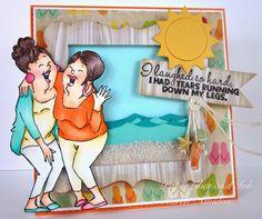 Art Impressions Ai Girlfriends Laughing Set.  Fun beach friendship card!