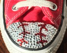 Women's Baseball Converse Shoes High or Low Tops with Rhinestone Bling