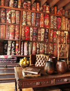 A la Turca, Erkal Aksoy's antiques showroom - Istanbul, Turkey...and yet, cool idea for a sewing room/home office.