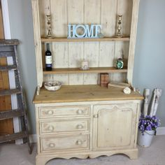 This gorgeous Reclaimed Pine Scrub top farmhouse dresser is for sale at £525. free UK delivery! (mainland uk) you can find my furniture & furniture appliqués at www.chicmouldings.com