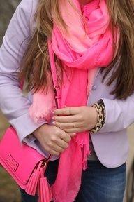 Shocking pink scarf