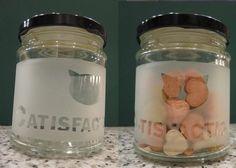 Glas zandstralen als opslagpotje voor kattensnoepjes