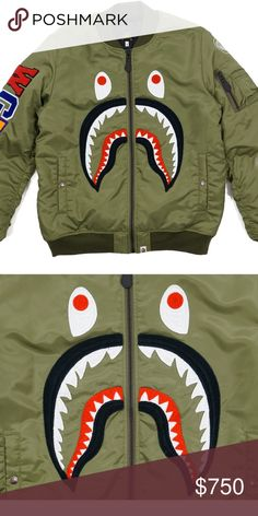 d712913c3cbf Bape Front Facing Shark MA1 Bomber Flight Jacket O Please note  BAPE runs  approximately one