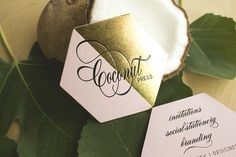 Coconut Press business cards printed by Rise & Shine Letterpress. Design by Coconut Press. Boutique Design, A Boutique, Business Card Design, Business Cards, Letterpress Printing, Personalized Stationery, Foil Stamping, Wedding Events, Coconut