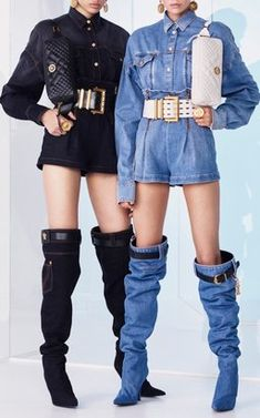 ba7b93b9235 Denim Buttoned Shirts with High Waisted Mini Shorts by Versace Resort 2019  Versace Boots