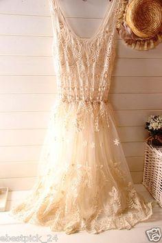 ♥ FREE GIFT + Vintage 70's sheer CROCHET lace HIPPIE WEDDING beach maxi dress ♥