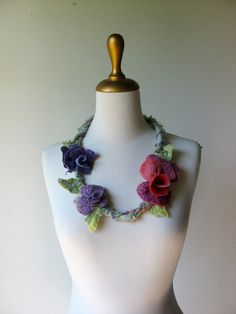 Felted Flower  Necklace for Faeries  Purple Lilac Red by realfaery